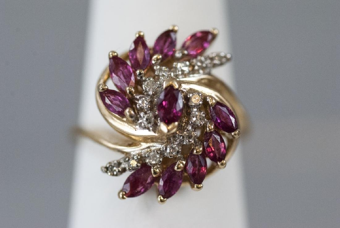 Estate Diamond & Ruby 14k Yellow Gold Cluster Ring - 6