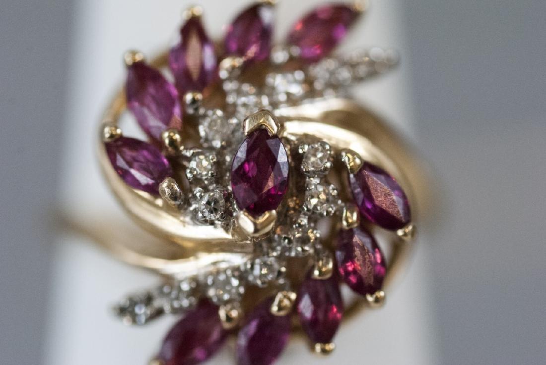 Estate Diamond & Ruby 14k Yellow Gold Cluster Ring - 7