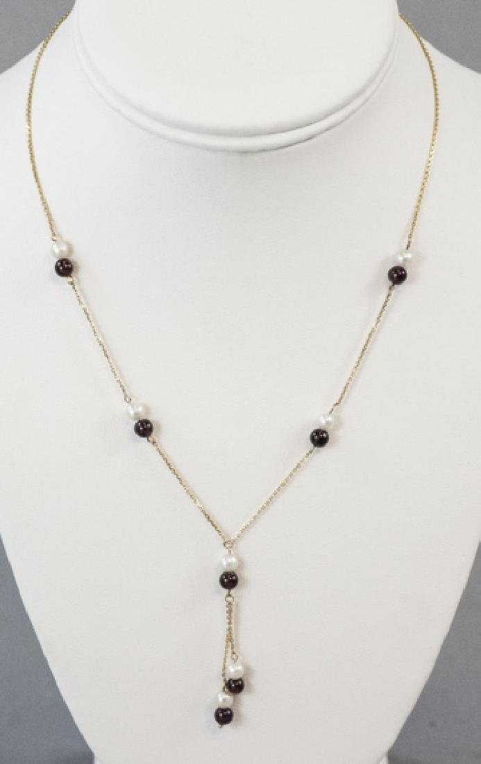 Vintage 14kt Yellow Gold Pearl & Garnet Necklace