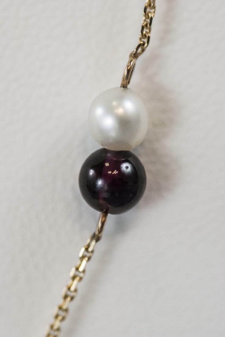 Vintage 14kt Yellow Gold Pearl & Garnet Necklace - 2