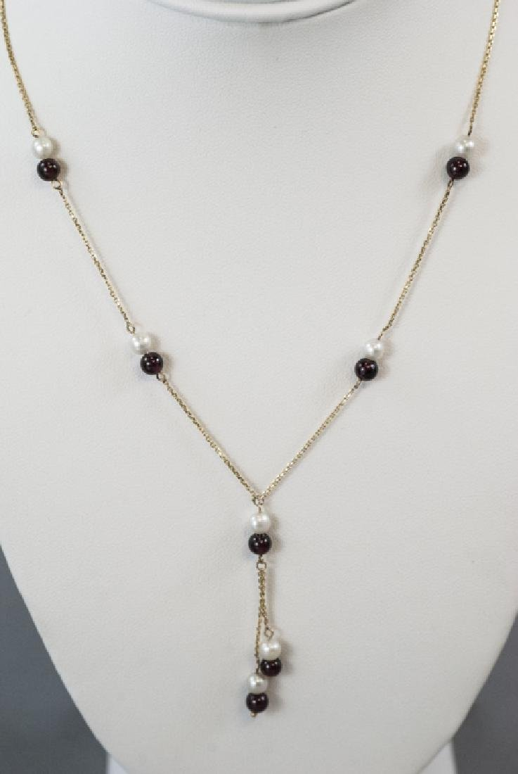 Vintage 14kt Yellow Gold Pearl & Garnet Necklace - 4