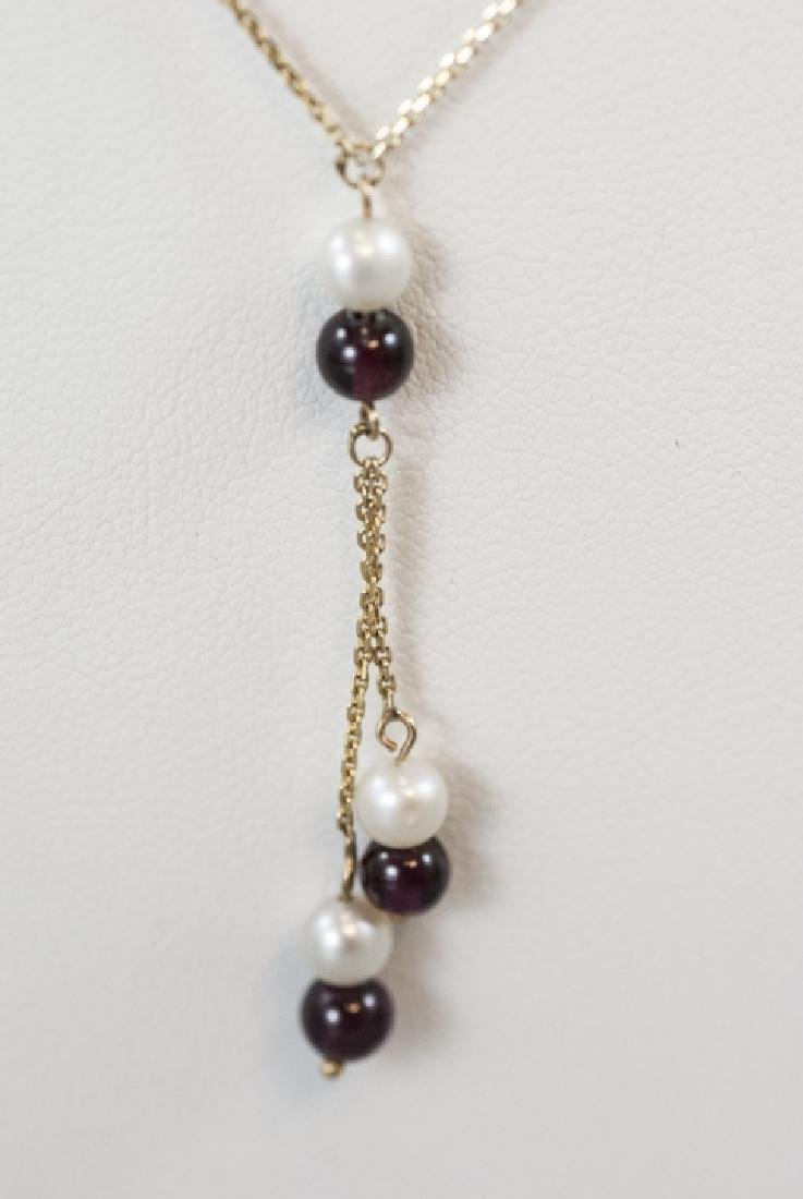 Vintage 14kt Yellow Gold Pearl & Garnet Necklace - 5