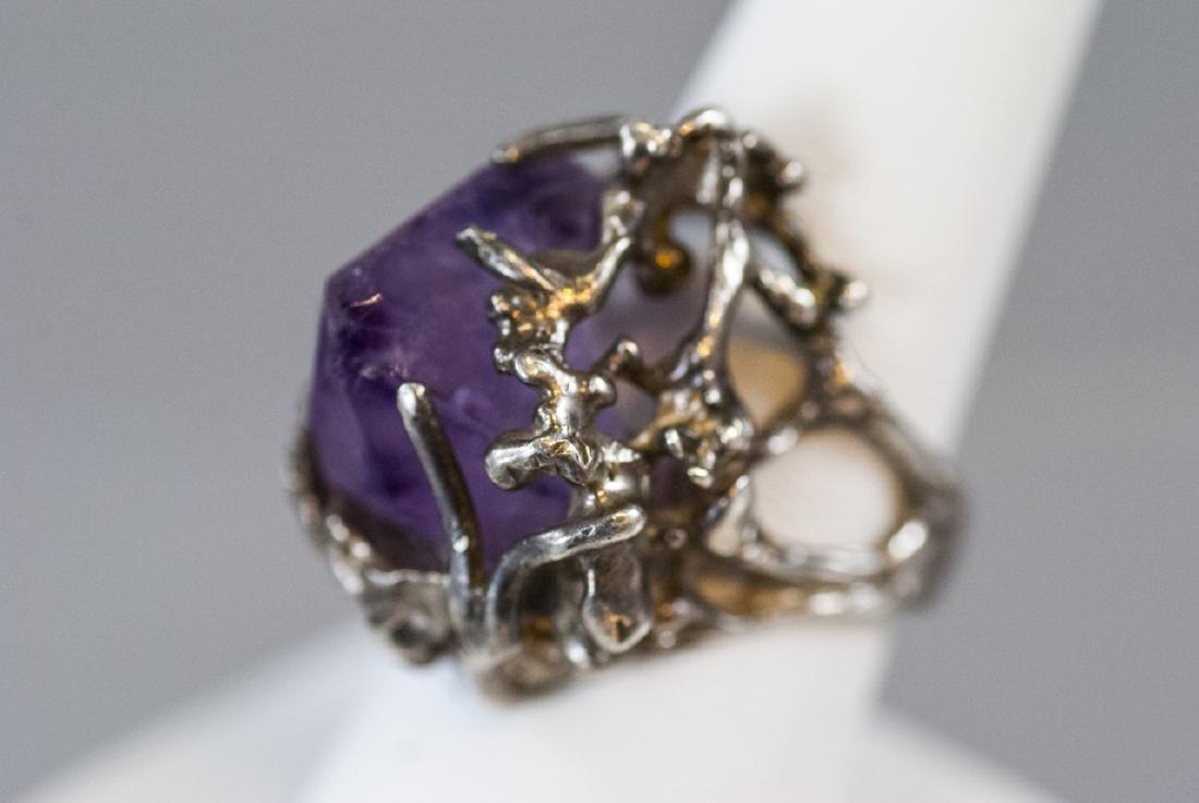 Sterling Silver Modernist Amethyst Crystal Ring - 2