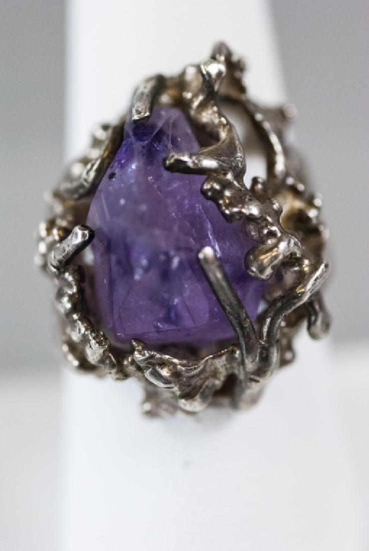 Sterling Silver Modernist Amethyst Crystal Ring - 3