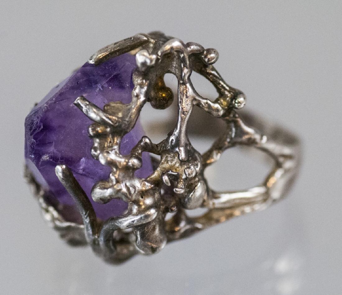 Sterling Silver Modernist Amethyst Crystal Ring - 4
