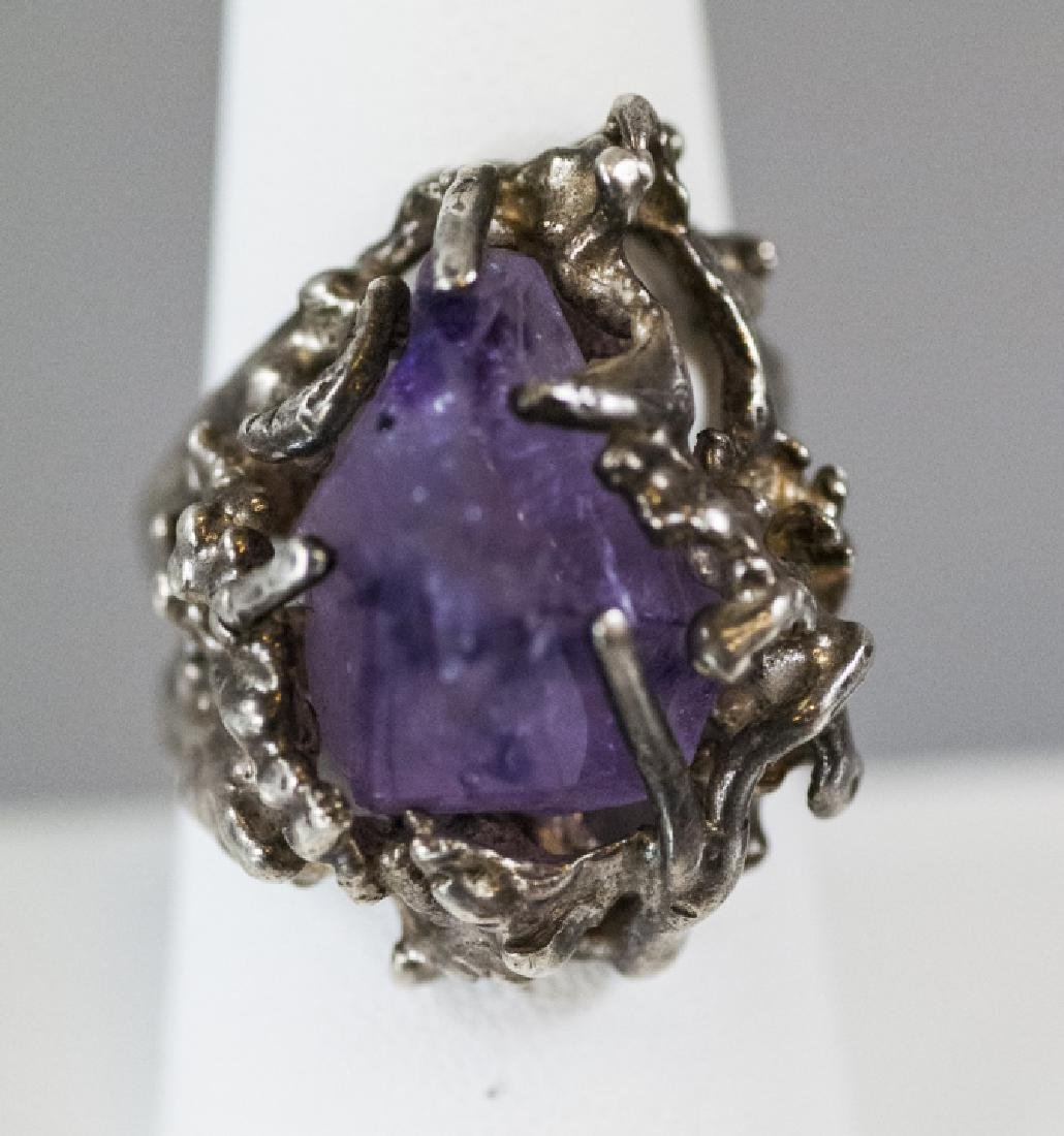 Sterling Silver Modernist Amethyst Crystal Ring - 5