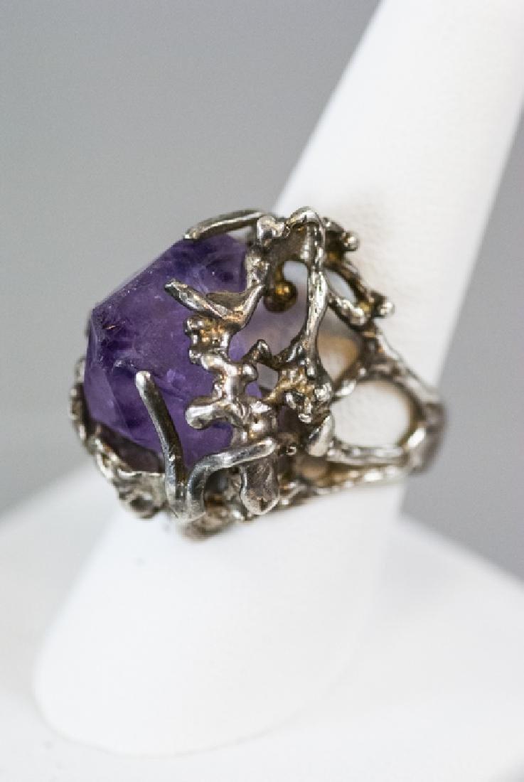 Sterling Silver Modernist Amethyst Crystal Ring - 6