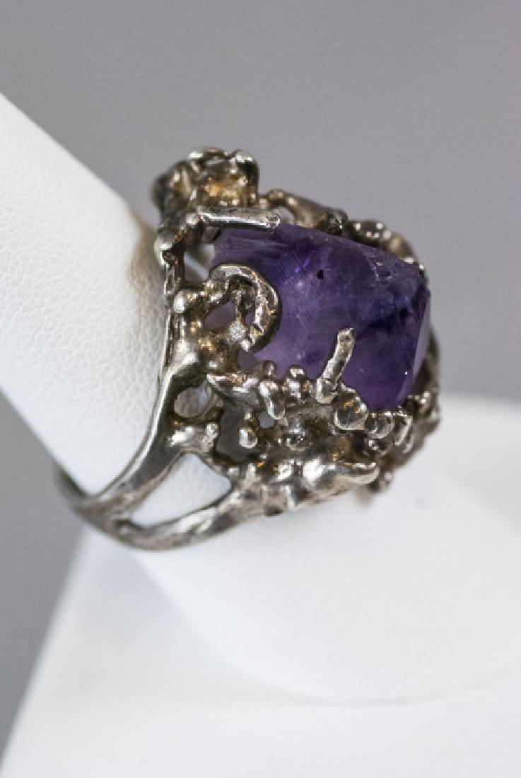 Sterling Silver Modernist Amethyst Crystal Ring - 7