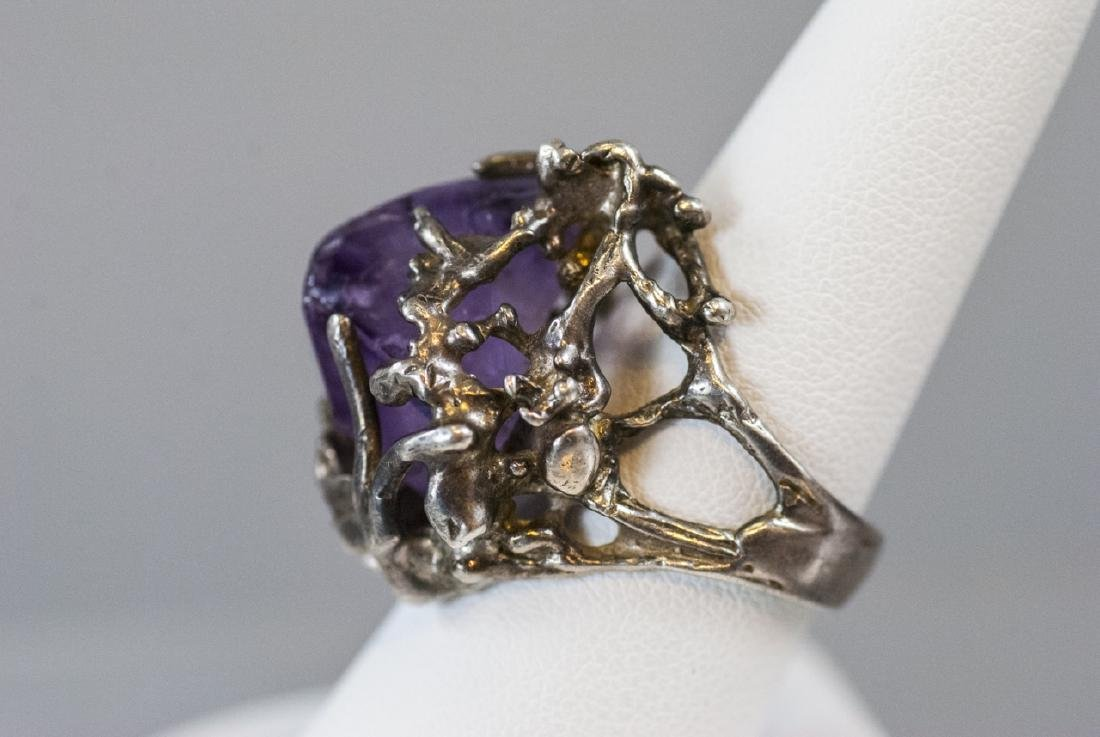 Sterling Silver Modernist Amethyst Crystal Ring - 8