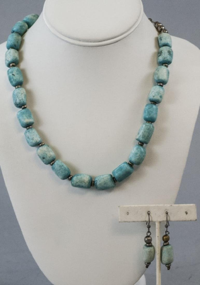 Handmade Turquoise Bead Necklace & Earring Set