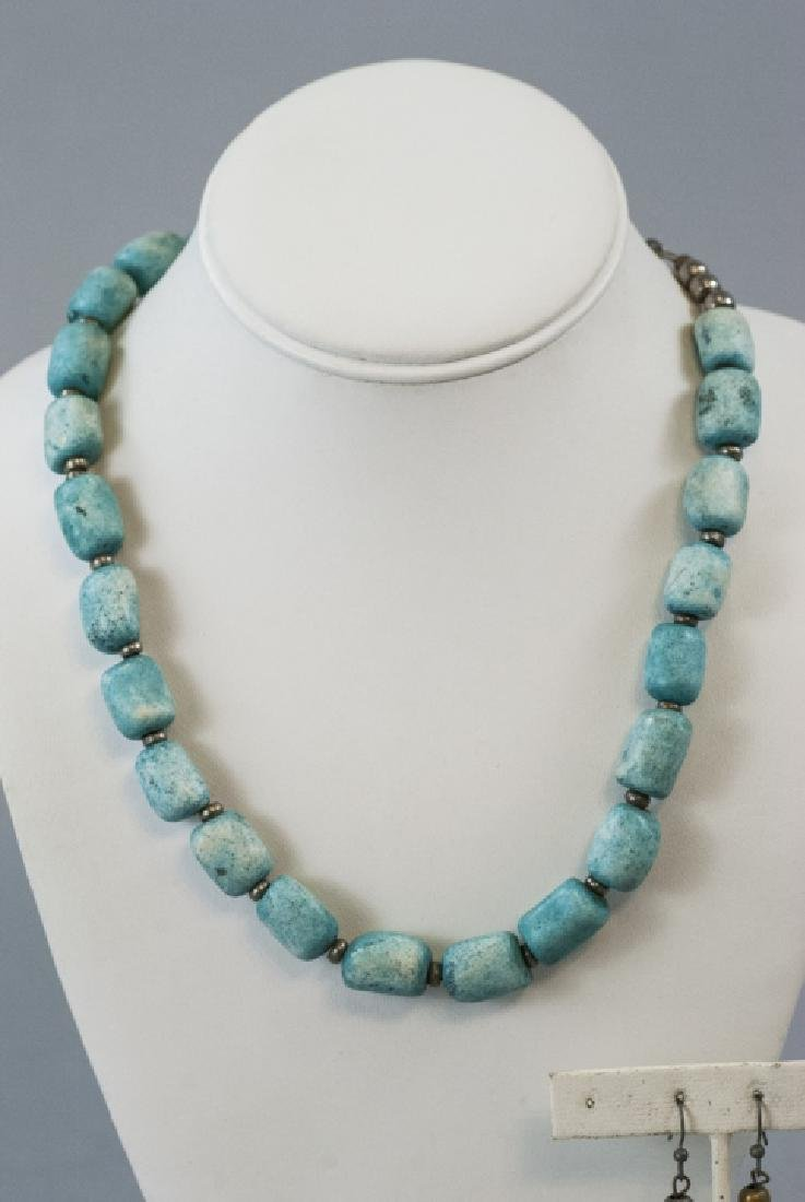 Handmade Turquoise Bead Necklace & Earring Set - 4