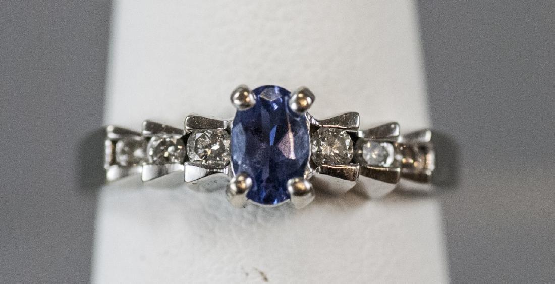 14kt White Gold Diamond & Tanzanite Ring
