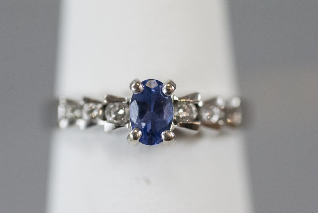 14kt White Gold Diamond & Tanzanite Ring - 2