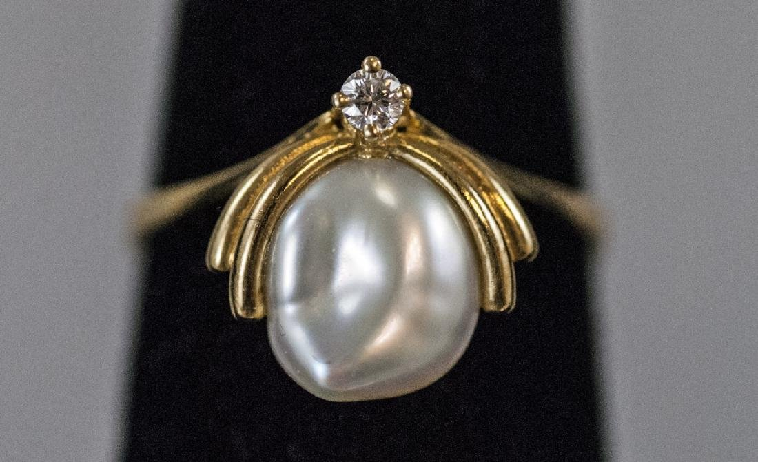 Estate 18kt Yellow Gold Diamond Baroque Pearl Ring