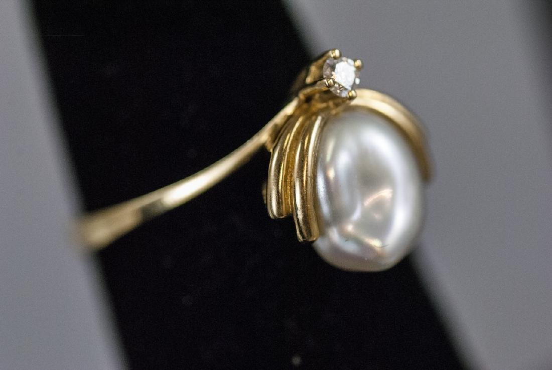 Estate 18kt Yellow Gold Diamond Baroque Pearl Ring - 4