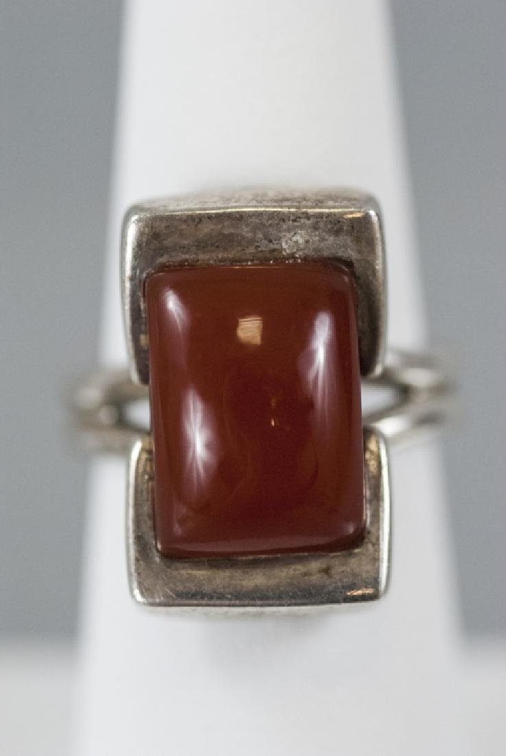 Vintage Sterling & Cabochon Art Deco Style Ring