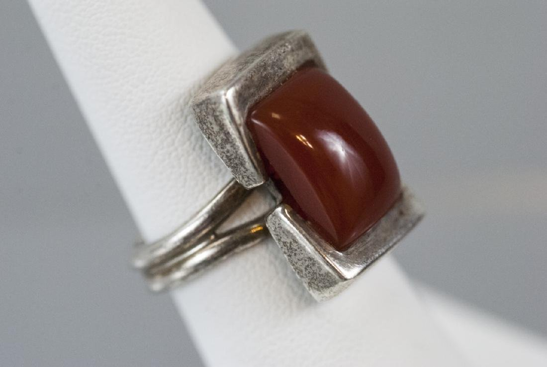 Vintage Sterling & Cabochon Art Deco Style Ring - 2