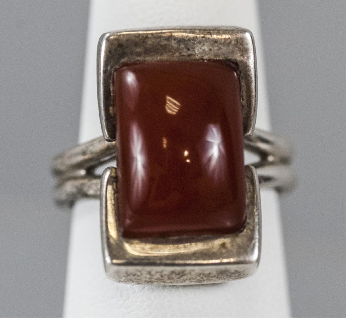 Vintage Sterling & Cabochon Art Deco Style Ring - 3