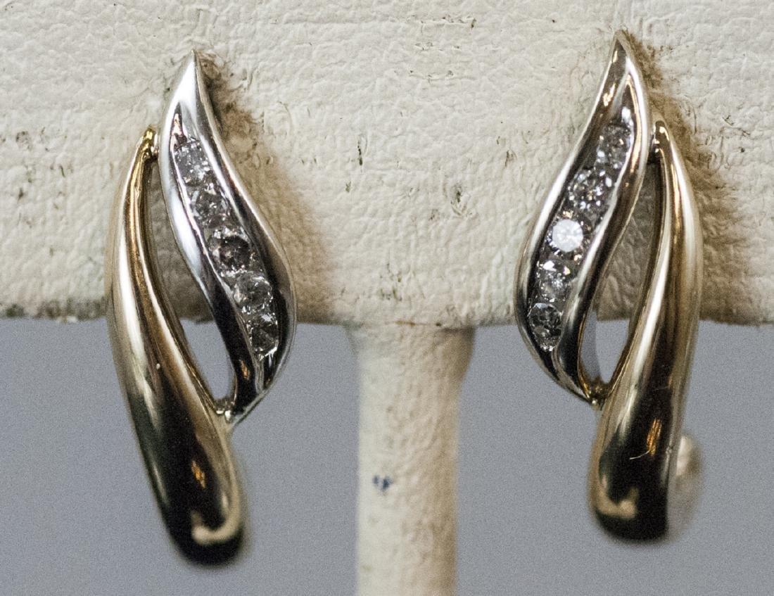 Pair Retro Style 14kt Yellow Gold Diamond Earrings - 2