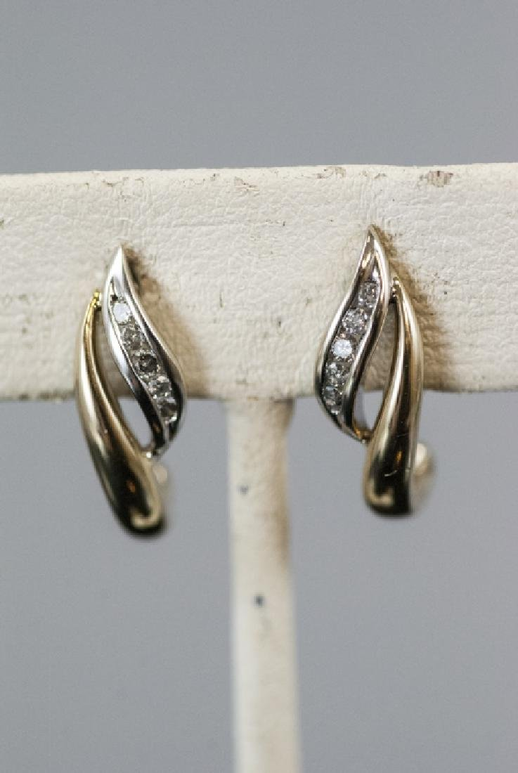 Pair Retro Style 14kt Yellow Gold Diamond Earrings - 4