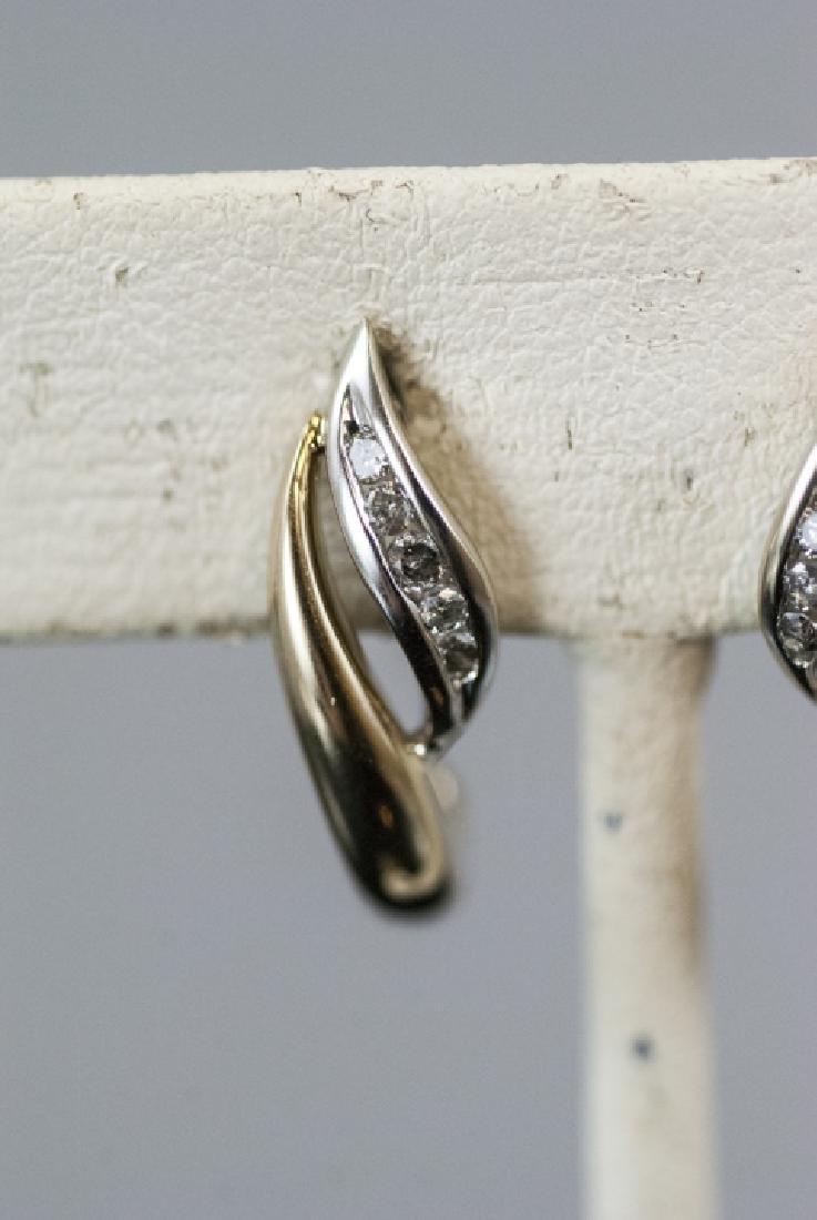 Pair Retro Style 14kt Yellow Gold Diamond Earrings - 6