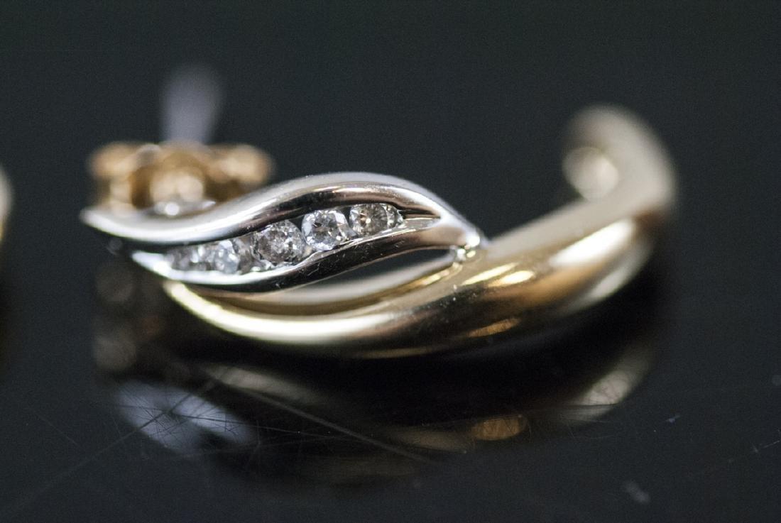 Pair Retro Style 14kt Yellow Gold Diamond Earrings - 8