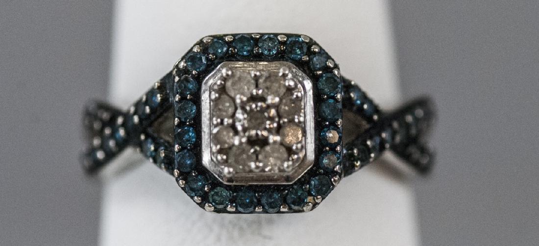 Pave Set Diamond Sterling Silver Ring