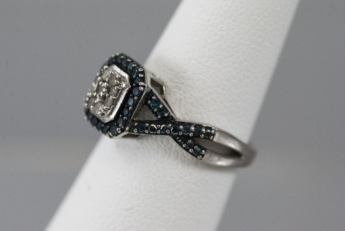 Pave Set Diamond Sterling Silver Ring - 2