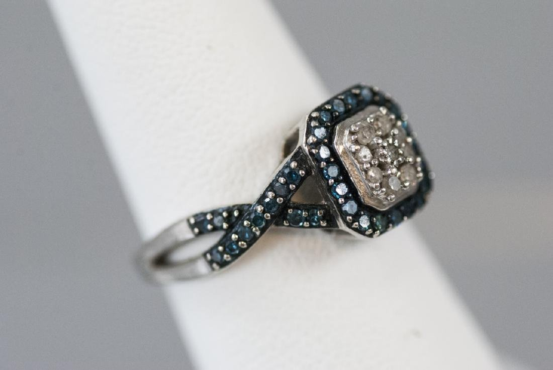 Pave Set Diamond Sterling Silver Ring - 3