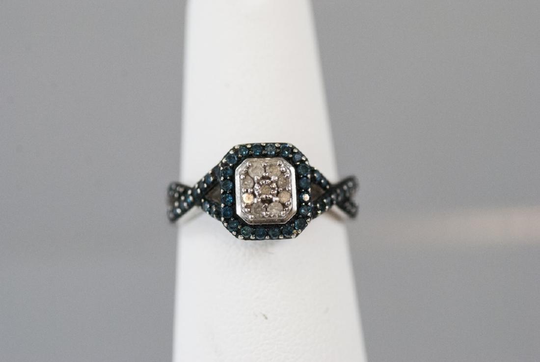 Pave Set Diamond Sterling Silver Ring - 5