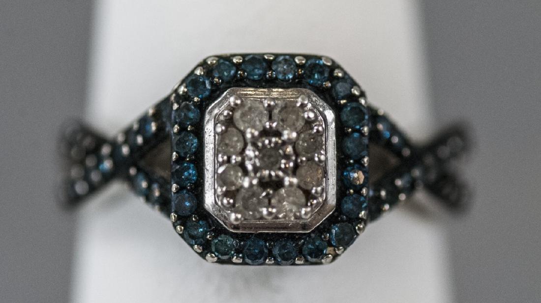 Pave Set Diamond Sterling Silver Ring - 6