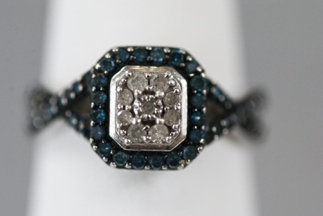 Pave Set Diamond Sterling Silver Ring - 7
