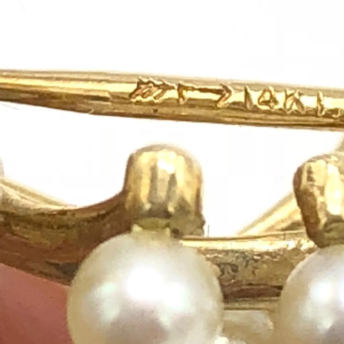 Estate / Vintage 14k Gold & Pearl Pin - 3