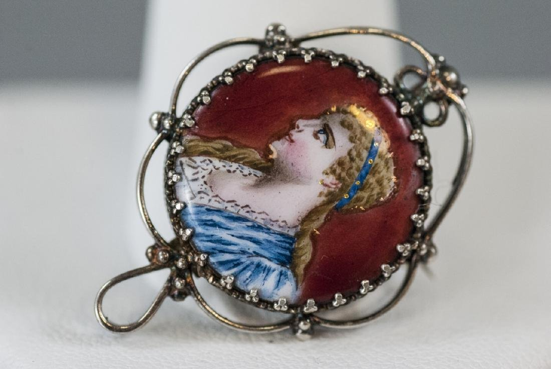 Antique Sterling Silver Enamel Portrait Miniature