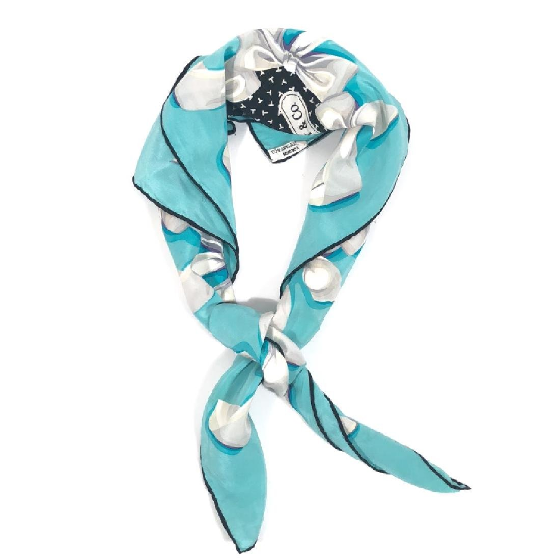 Vintage Tiffany & Co T Design with Bows Silk Scarf