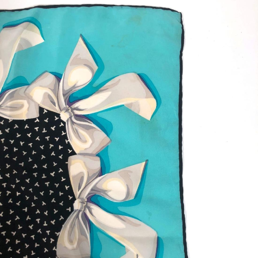 Vintage Tiffany & Co T Design with Bows Silk Scarf - 5