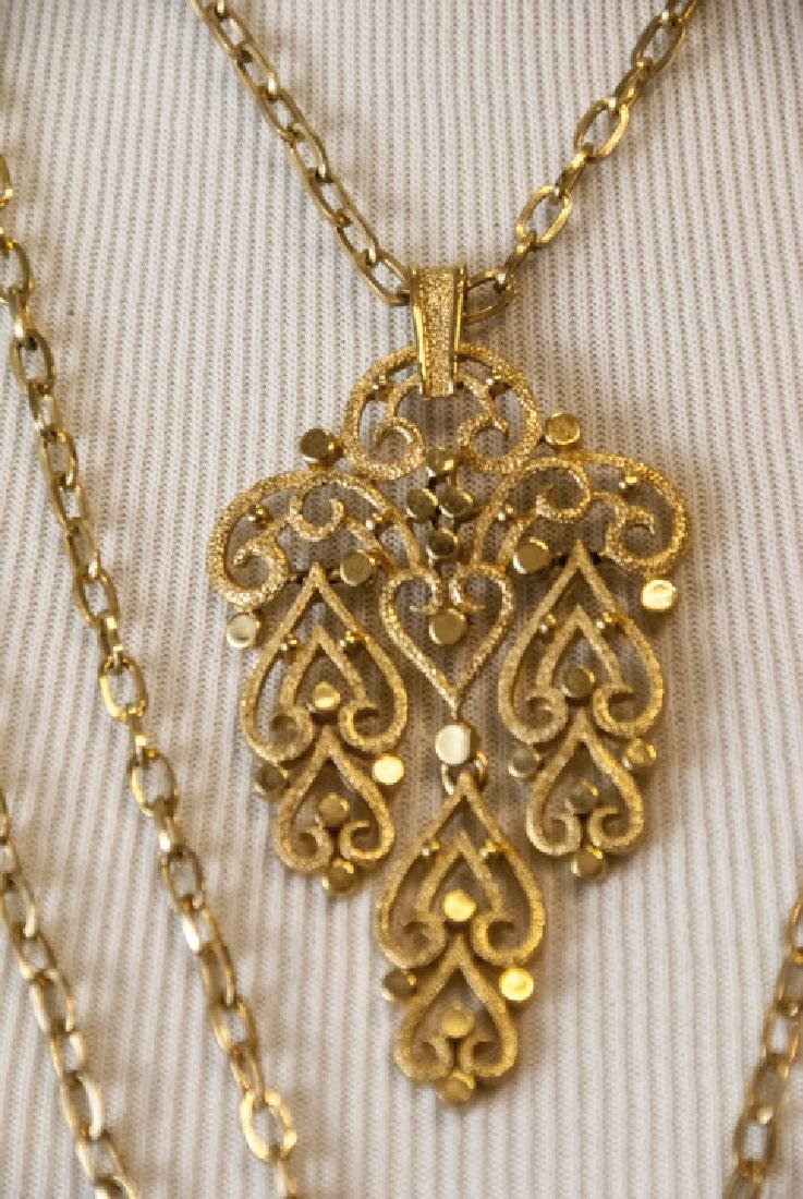 Vintage Trifari Gilt Metal Costume Necklace - 3