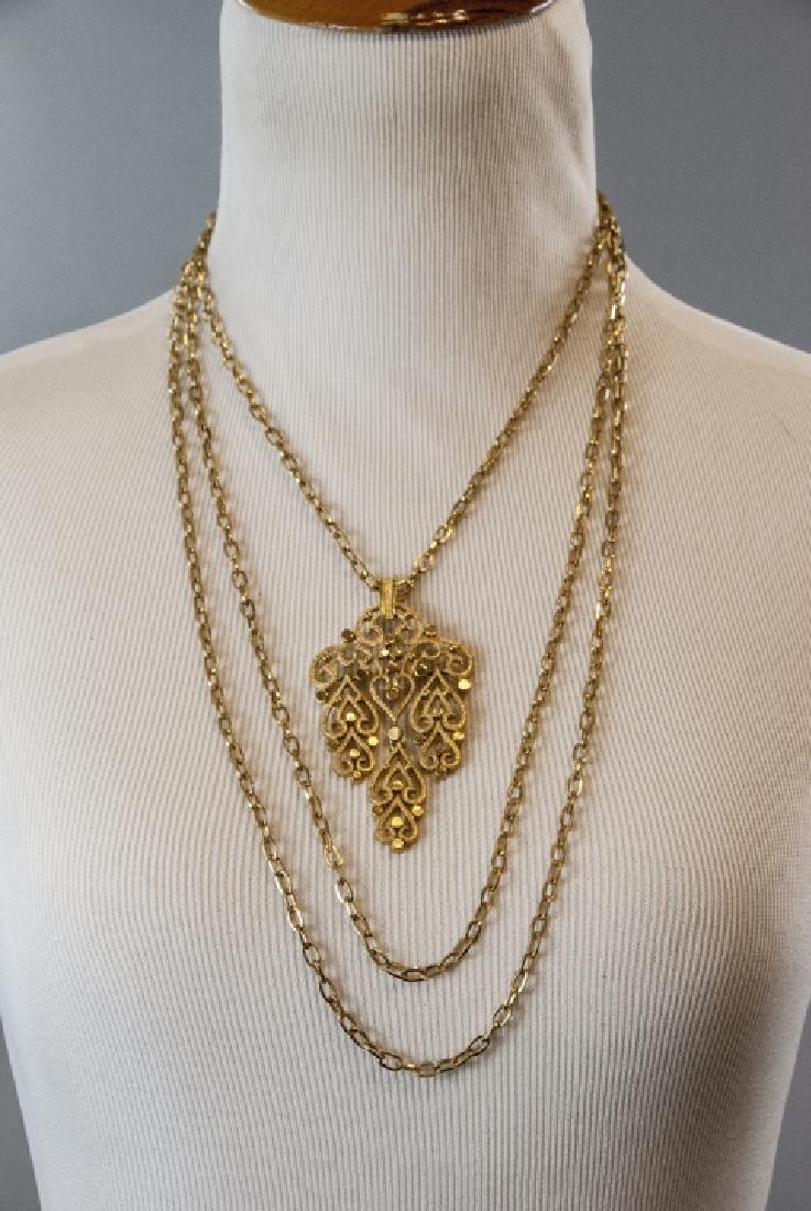 Vintage Trifari Gilt Metal Costume Necklace - 4
