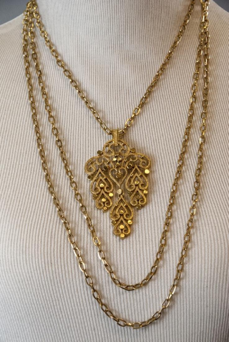 Vintage Trifari Gilt Metal Costume Necklace - 5
