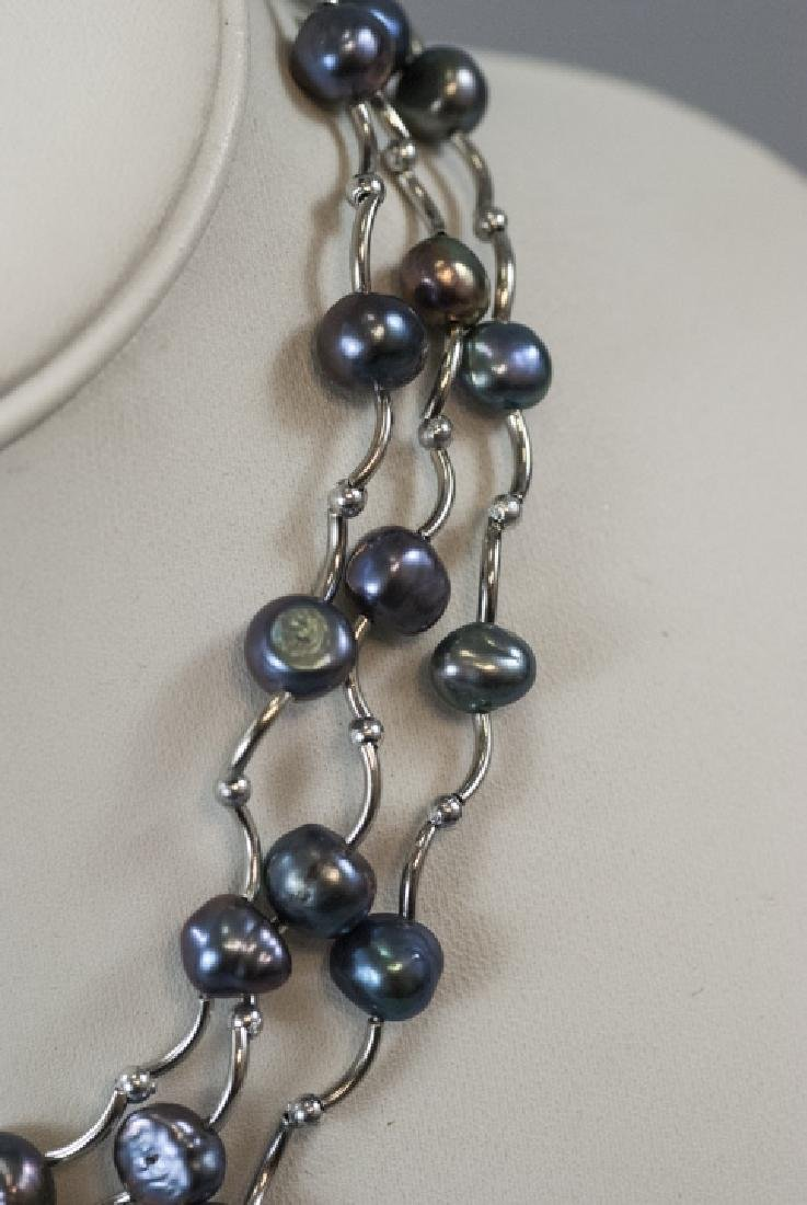 Three Necklaces w Tahitian Style Baroque Pearls - 4