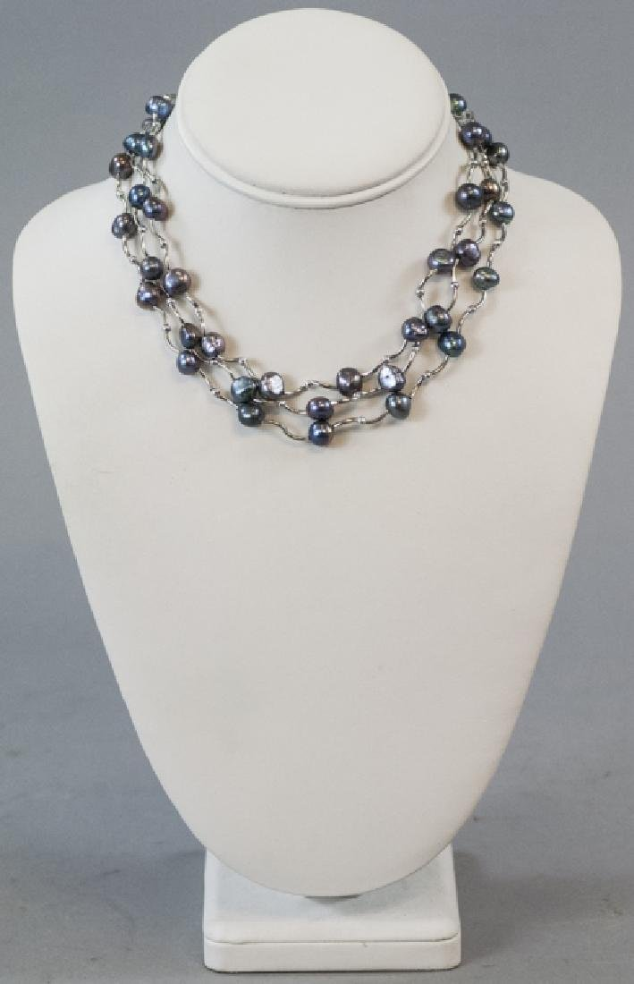 Three Necklaces w Tahitian Style Baroque Pearls - 5