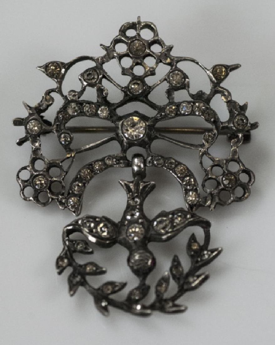 Antique 19th C Sterling & Paste Swallow Brooch