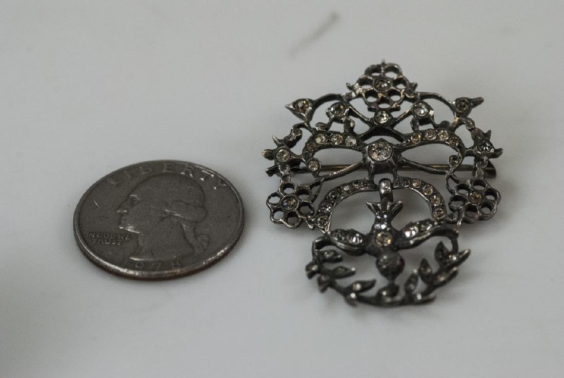 Antique 19th C Sterling & Paste Swallow Brooch - 2