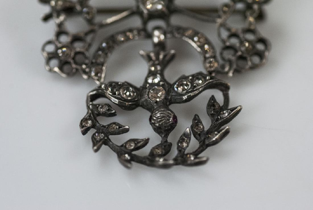 Antique 19th C Sterling & Paste Swallow Brooch - 4