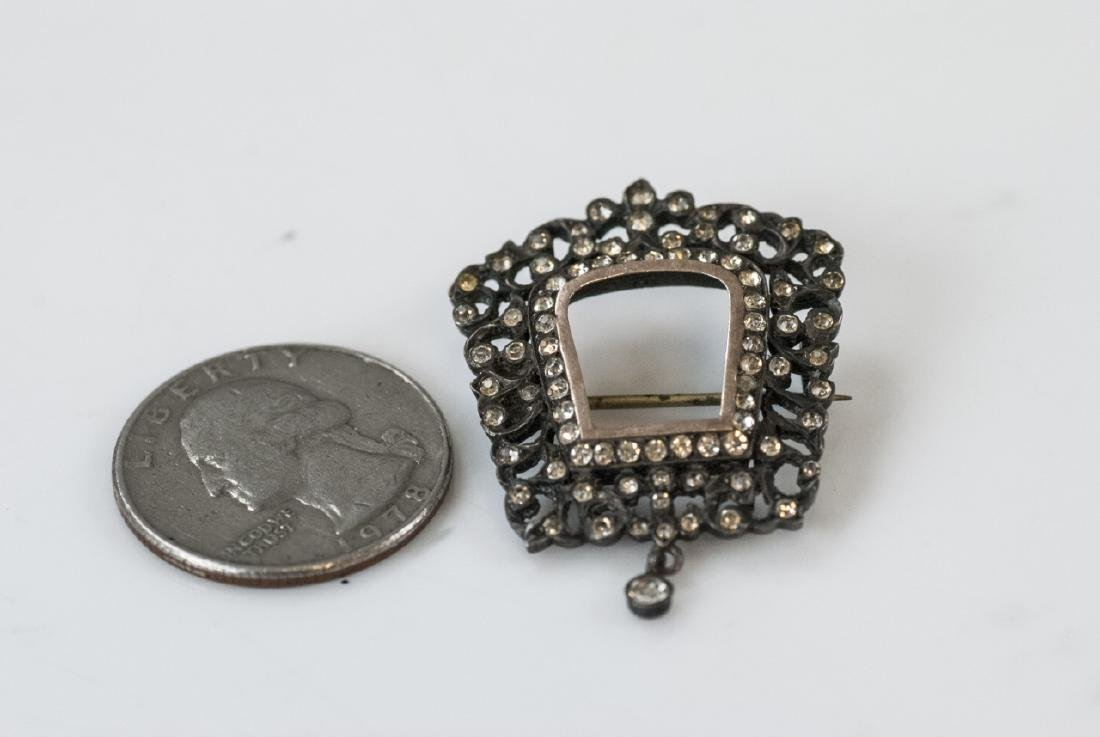 Antique French Sterling Gold & Paste Brooch - 4