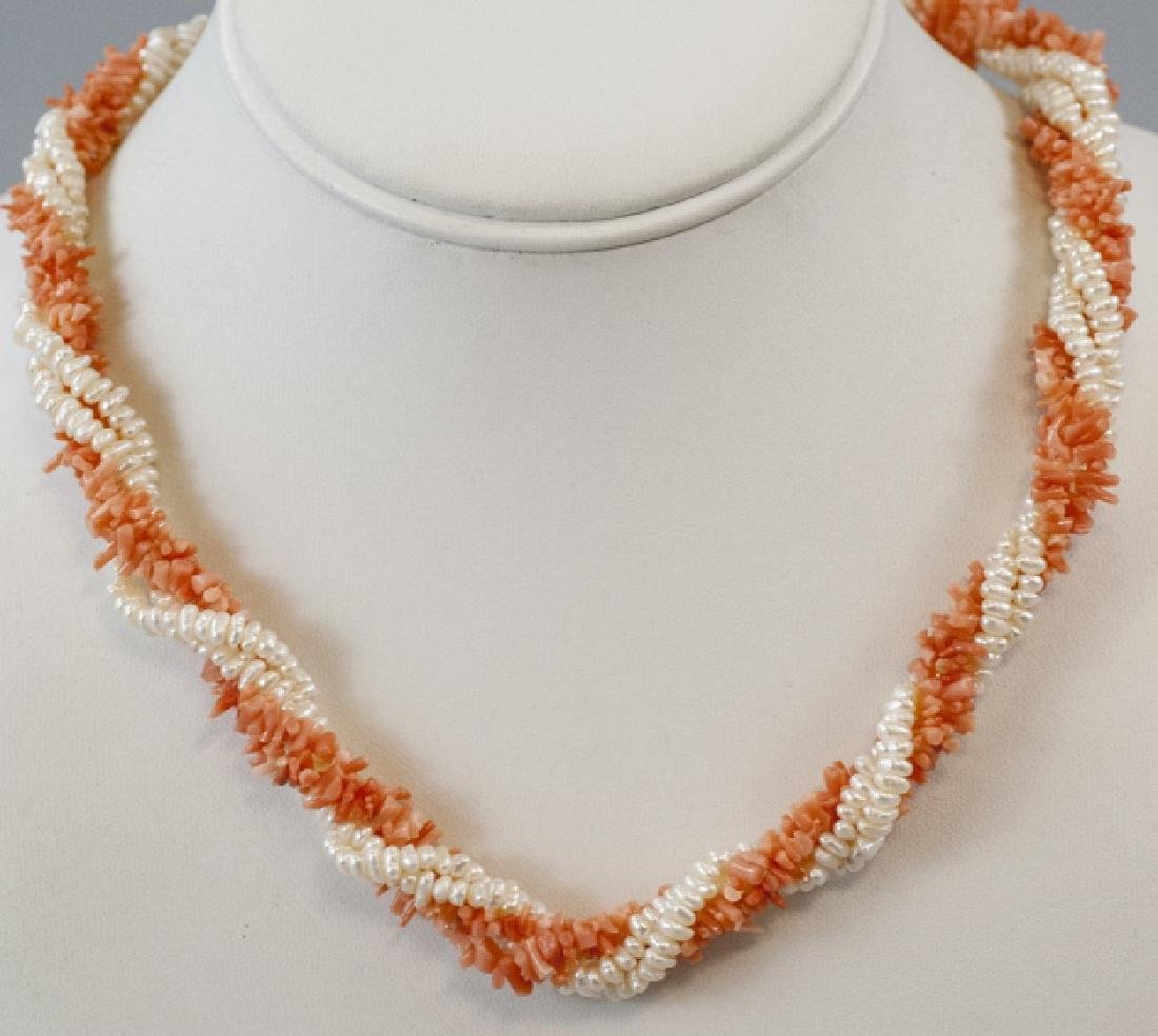 Estate 14k Yellow Gold Coral Seed Pearl Necklace