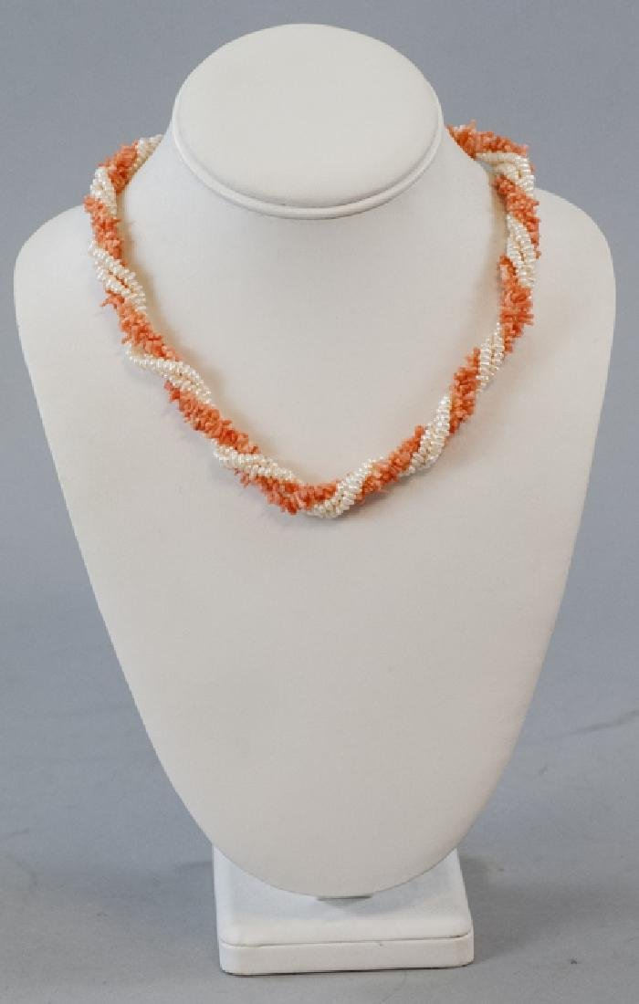 Estate 14k Yellow Gold Coral Seed Pearl Necklace - 3