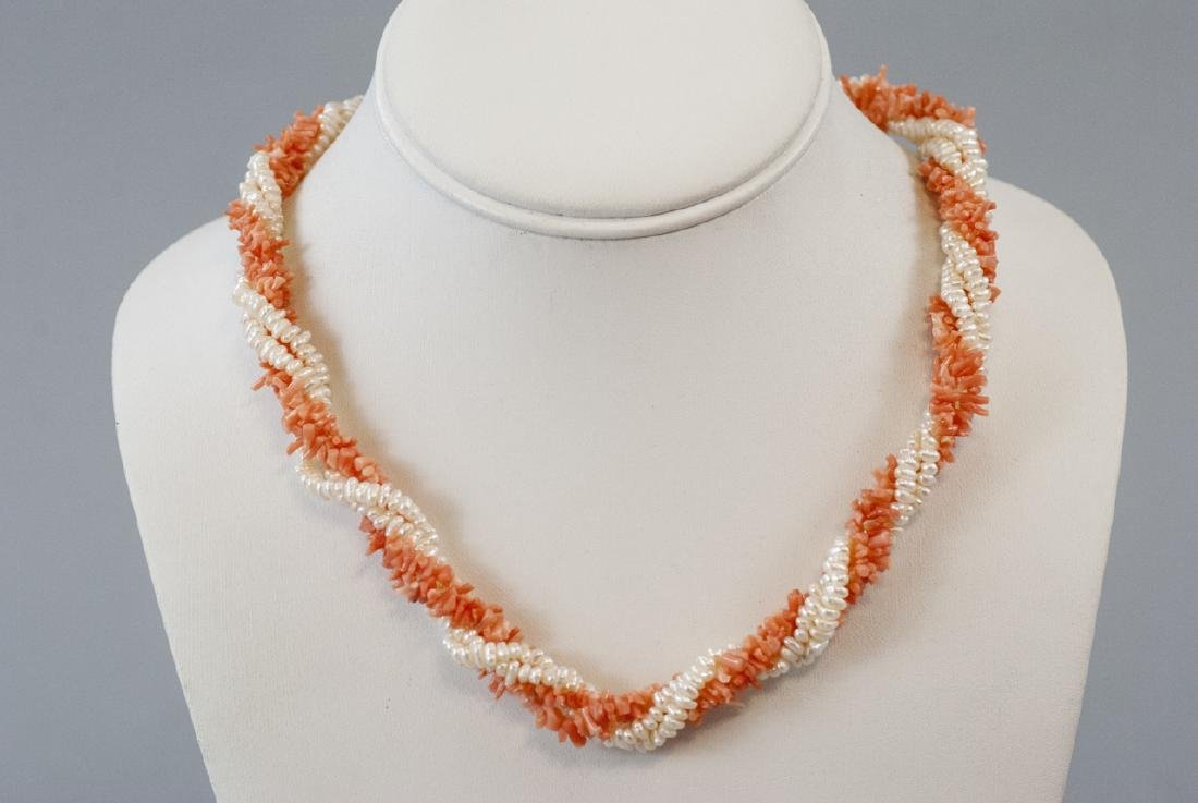 Estate 14k Yellow Gold Coral Seed Pearl Necklace - 4