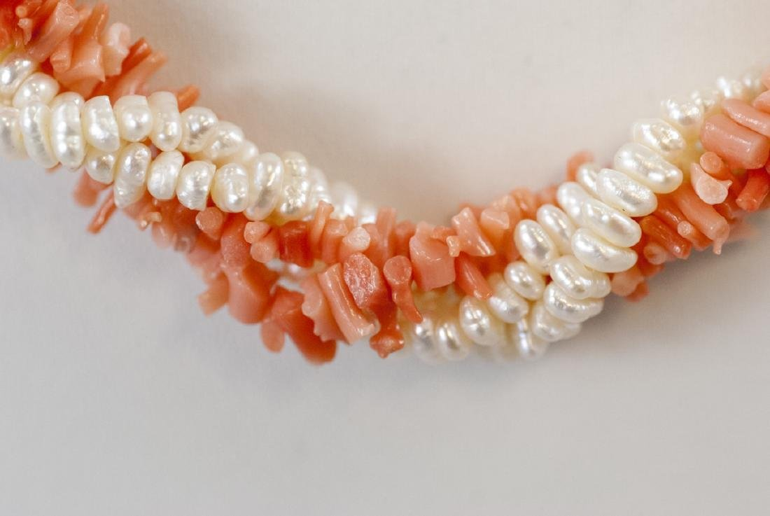 Estate 14k Yellow Gold Coral Seed Pearl Necklace - 5
