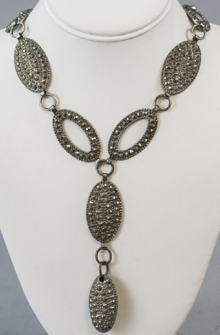 Antique Pressed Steel Costume Jewelry Necklace